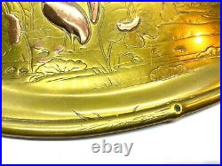 Antique Japanese Mixed Metals Meiji Period Brass Tray Calling Card Tray