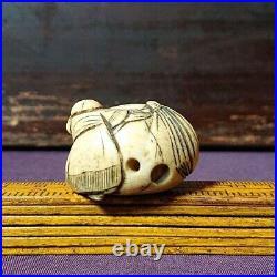 Antique Japanese Netsuke Edo Meiji Period Person Signed Bone Figurine Figure S19
