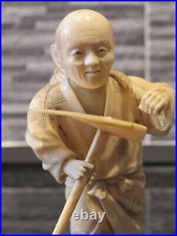 Antique Japanese Okimono Farmer Meiji Period 1861-1933
