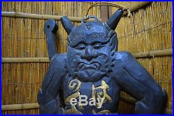 Antique Japanese Oni Ogre Large Wooden Signboard 33 Meiji Period