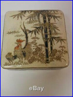 Antique Japanese SATSUMA 3.25 Box, Rooster & Bamboo, Meiji Period