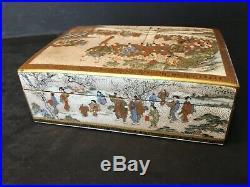 Antique Japanese Satsuma Box, Meiji period. Signed YABU MEIZAN