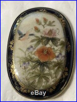 Antique Japanese Satsuma Brooch/pin Bird & Flowers Meiji Period