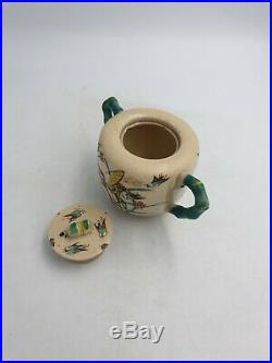 Antique Japanese Satsuma Kinkozan Meiji Period Creamware Sugar Bowl Birds Floral