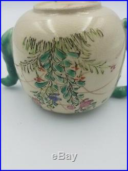 Antique Japanese Satsuma Kinkozan Meiji Period Creamware Teapot Handpaint Floral