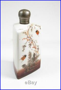 Antique Japanese Satsuma Meiji Period Scent Bottle with Insects Lady Bugs Floral