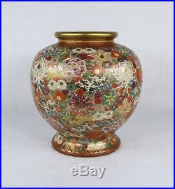Antique Japanese Satsuma Thousand Flowers Ceramic Vase Late Meiji Period