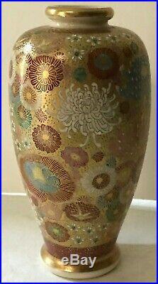 Antique Japanese Satsuma Thousand Flowers Vase Meiji Period 1842-1916