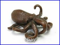 Antique Japanese Shodo Tolls Paperweight Octopus Meiji Period Figurine Copper E0