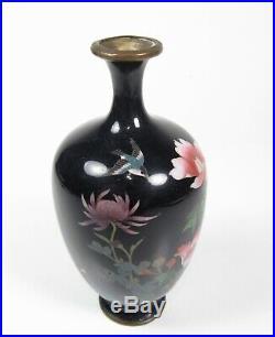 Antique Japanese Signed Meiji Period Cloisonné Vase with Bird Floral Scene 4-3/4