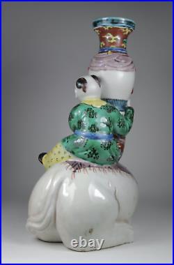 Antique Japanese c1900 Meiji Period Kutani Figure Vase Boy Girl Elephant LARGE