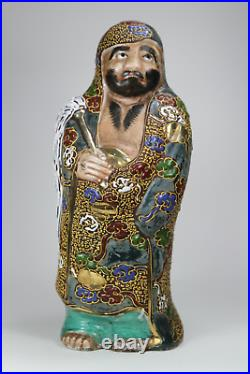 Antique Japanese c1900 Meiji Period Kutani Moriage Daruma Damo Figure Porcelain