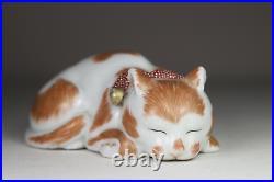 Antique Japanese c1900 Meiji Period Kutani Sleeping Cat Figure Red Ribbon & Bell