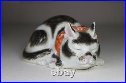 Antique Japanese c1900 Meiji Period Kutani Sleeping Cat Figure with Red Ribbon