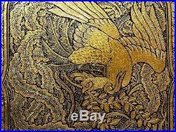 Antique Japanese gold inlay Phoenix Torii art deco Cigarette case Meiji period