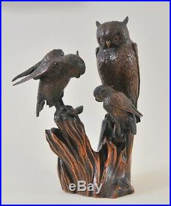 Antique Japanese okimono, carved small group of owls, Meiji period, signed