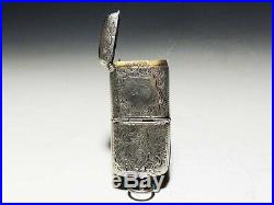 Antique Japanese silver art deco Match Cigarette case with compass Meiji period
