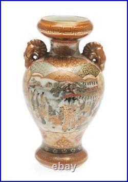 Antique Kutani Porcelain Vase Visit to a Temple Japanese Meiji Period c1880