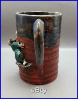 Antique Large Japanese Sumida Gawa Ryosai Tankard/mug Meiji Period 1868-1912