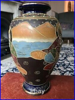 Antique Large MEIJI Period glazed &gilded Japanese SATSUMA Vase of Immortals 12