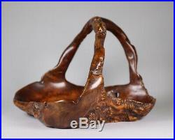 Antique Late Meiji Early Taisho Period Japanese Burlwood Moribon Tray Basket