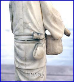 Antique Meiji Period 1868-1912 Japanese Carving Okimono Man with basket + staff