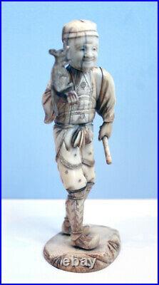 Antique Meiji Period 1868-1912 Japanese Carving Okimono Man with pet Rat