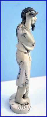 Antique Meiji Period 1868-1912 Japanese Carving Signed Okimono Man
