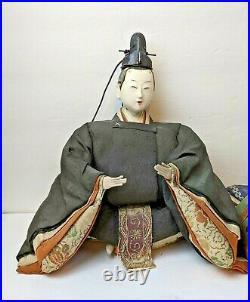 Antique Meiji Period Gofun Painted Wood Japanese Hina Emperor & Empress Dolls