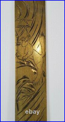 Antique Meiji Period Japanese Brass Copper Page Turner Mythological Beings