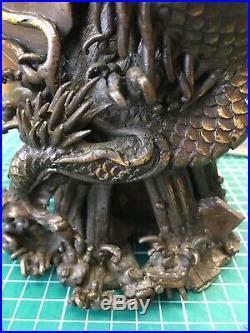 Antique Meiji Period Japanese Bronze Dragon Vase Signed