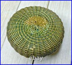Antique Meiji Period Japanese Bronze Fish Basket Inkwell