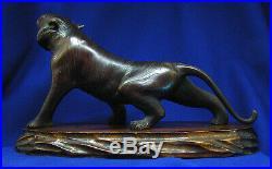 Antique Meiji Period Japanese Bronze Tiger Signed