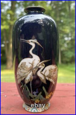 Antique Meiji Period Japanese Cloisonne Vase by Hayashi Chuzo Signed Cranes