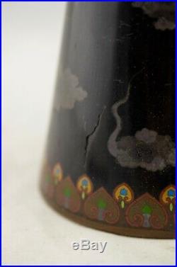 Antique Meiji-Period Japanese Cloisonne enamel Mythical Dragon conical vase