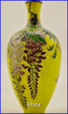 Antique Meiji-Period Japanese Cloisonne ginbari & solid silver Wisteria vase