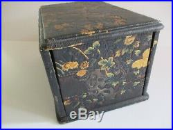 Antique Meiji Period Japanese Jewelry Box Chest Large Ornate Birds Tree Vintage