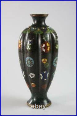 Antique Meiji Period Japanese Meiji Enamel Takehara Floral Vase