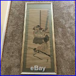 Antique Meiji Period Japanese Scroll Painting- Kids Playing with Samurai Uniform