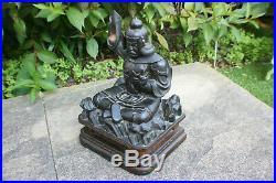 Antique Meiji Period Japanese Wooden Hand Carved Samurai Warrior Figure Statue