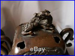 Antique Meiji period Bronze Koro Incense burner With Dragon Japanese / Chinese
