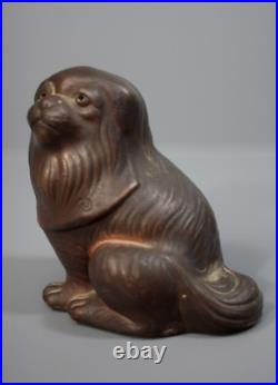 Antique Old Ko Bizen Ware Large Pottery Japanese Spaniel Dog Meiji Period