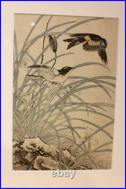 Antique Pair of Japanese Prints Meiji Period Keinen Imao Wood Block c. 1892