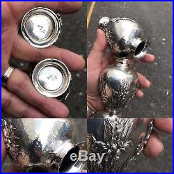 Antique Pr Solid Silver Japanese Vases Decorated W Chrysanthemums Meiji Period