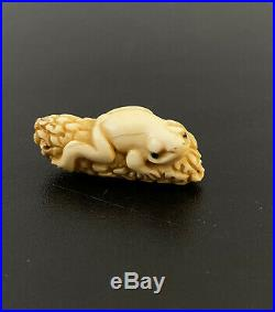 Antique Signed 19th Century Japanese Meiji Period Carved Netsuke of a Frog