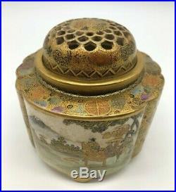 Antique Signed Japanese Satsuma Koro Incense Burner, Meiji Period