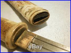 Antique Tanto Japanese dagger fine carved cattle bone Meiji period nice blade