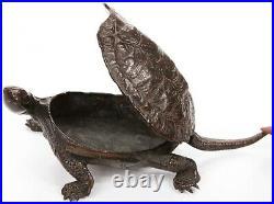 Antique Vintage Japanese Copper Pond Turtle Okimono Container Figure Match Safe