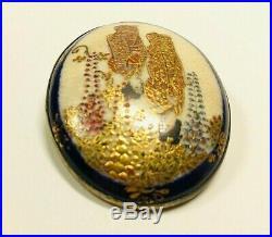 Antique Vintage Japanese Satsuma Brooch Hand Painted Porcelain Meiji Period