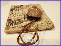 Antique Vintage Meiji Period Japanese Sagemono Netsuke Tobacco Pouch Purse